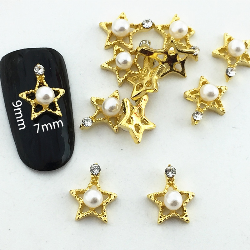 Moon And Stars Series New Style Hollow Out Diamond Set Star Metal Pearl Five-pointed Star Nail Ornament Alloy Nail Sticker