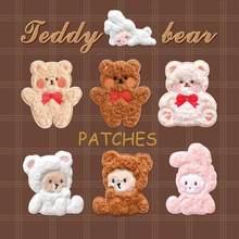 Cute Cartoon Plush Animal Patch Stickers Iron On Patches Embroidery Parches Bordados Para La Ropa Applique Accesorios Naszywki