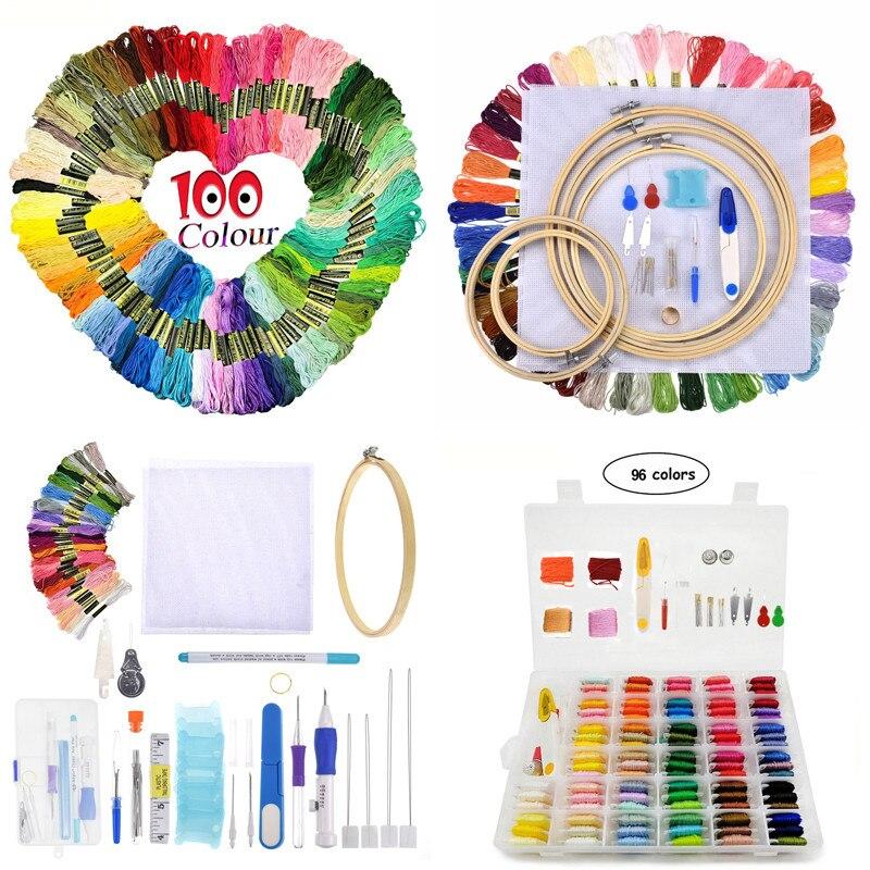 Kits de broderie, points de croix, fils colorés, pour ensemble de stylos, 8 Styles, 50/100/150 pièces, cerceau, poinçon, ensemble d'aiguilles