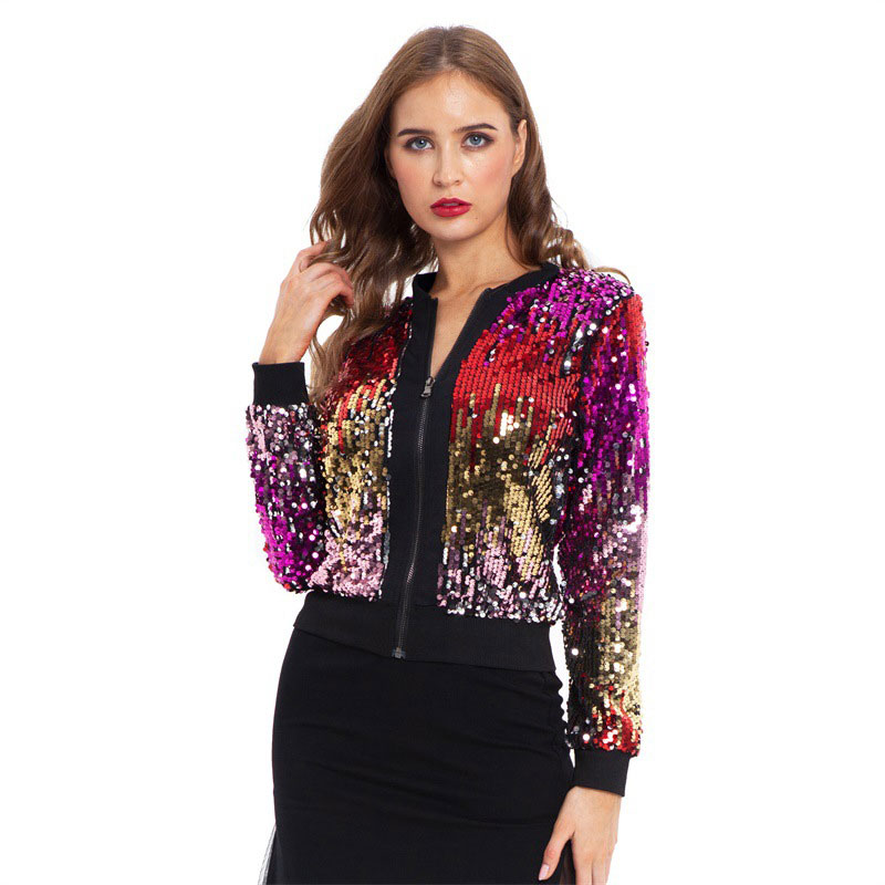 Women Sequin Coat Bomber Jacket Long Sleeve Zipper Streetwear Casual Loose Glitter Outerwear 2020 New Fashion Female Autumn Coat