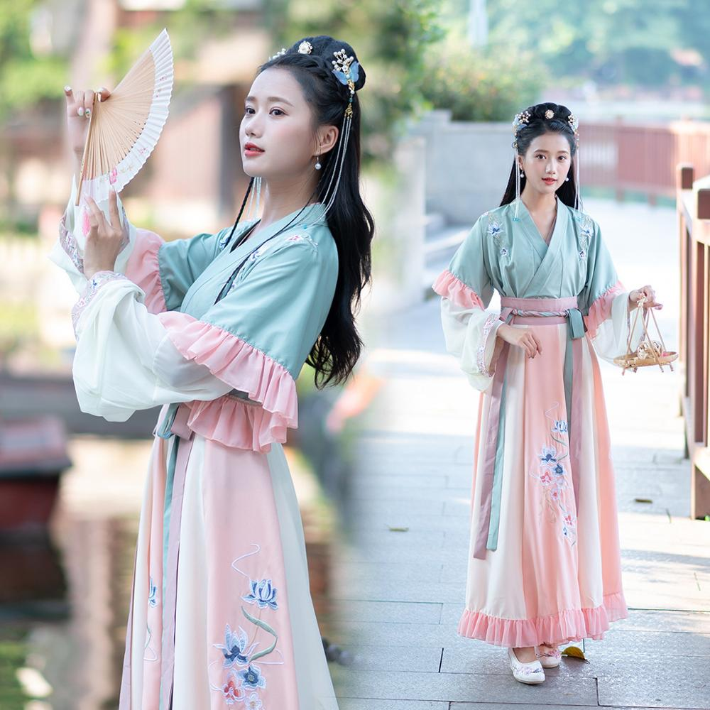 Embroidery Hanfu Women Traditional Chinese Fairy Dress Classical Dance Costumes Wei Jin Dynasty Rave Performance Clothes DF1519