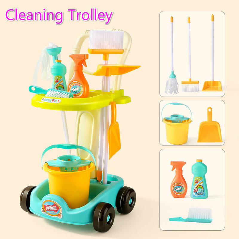New Product Children's Simulation Sweeping Toy Cleaning Kit Tool Trolley Simulation Play House Cleaning Toy Boy Girl Toy Gift