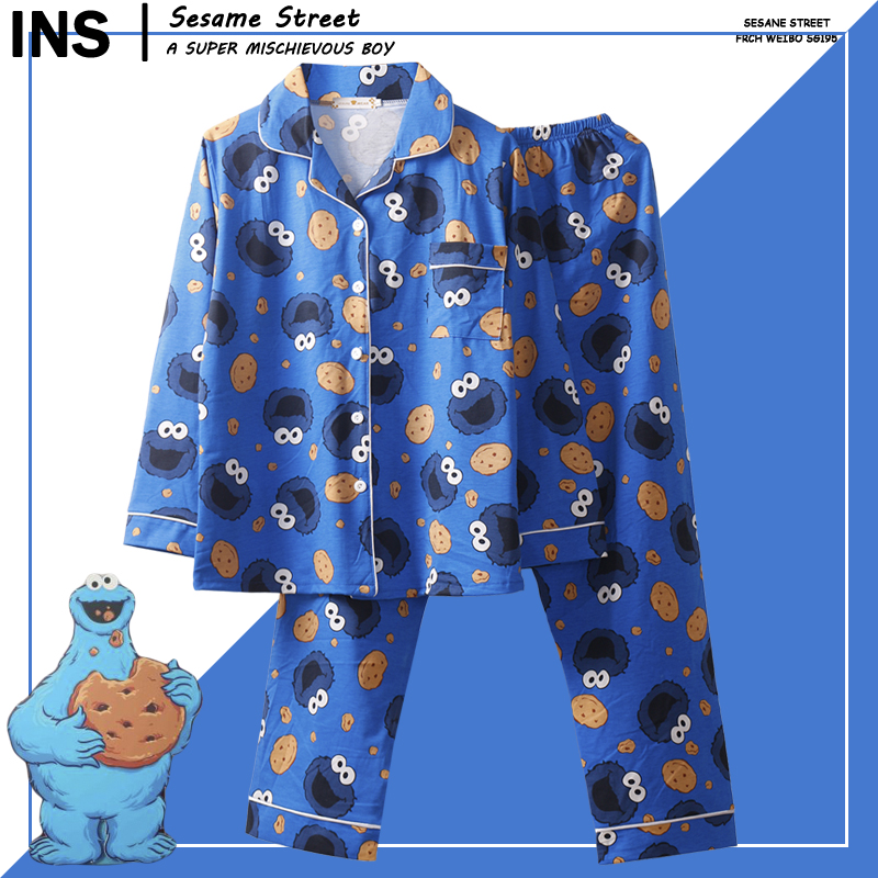 Caiyier Cute Cartoon Sesame Street Print Pajama Set Turn-down Collar Long Sleeve Nightgown Ladies Winter Sleepwear Home Clothing