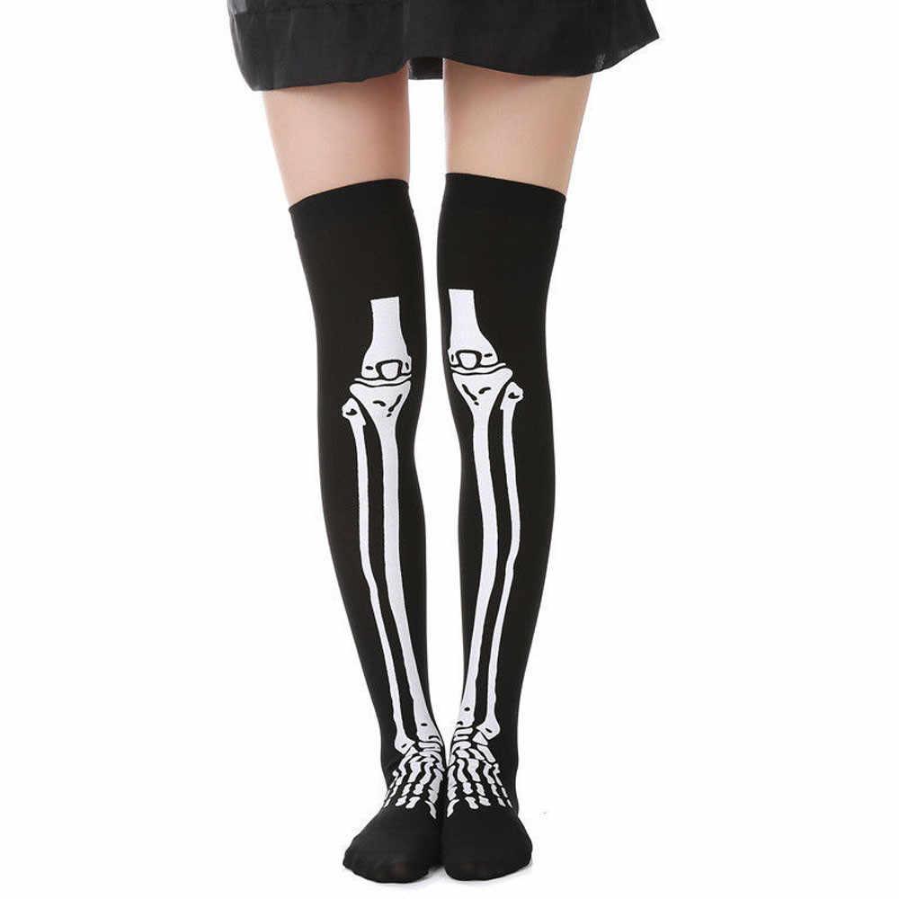 1 pares de calcetines de pie de hueso esqueleto Halloween sobre la rodilla disfraz medias altas calcetines Dropship disfraz mujer halloween