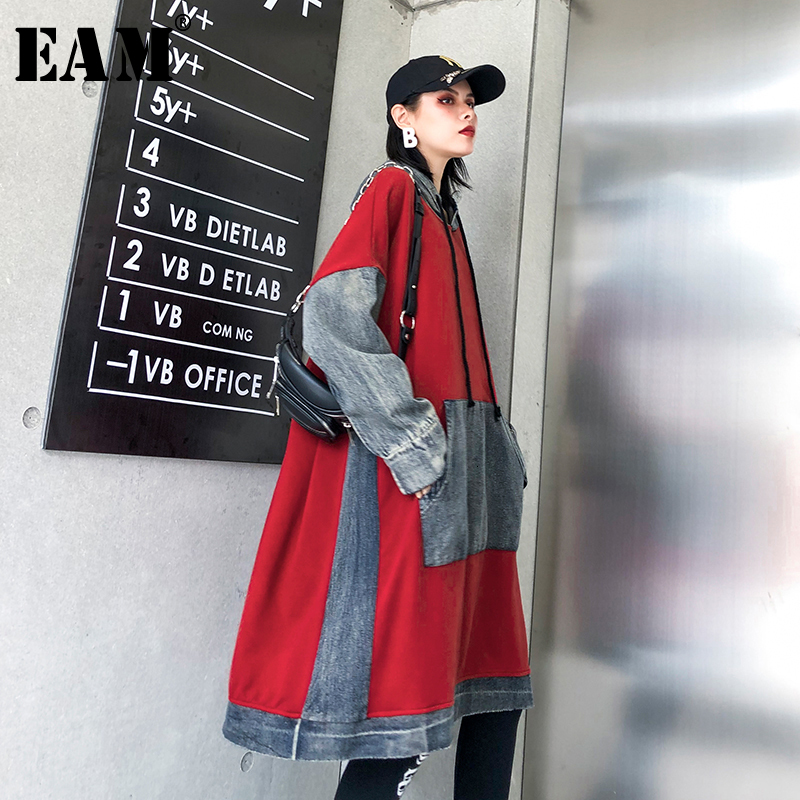 [EAM] Loose Fit Red Denim Split Oversized Sweatshirt New Hooded Long Sleeve Women Big Size Fashion Tide Spring Autumn 2020 1K355