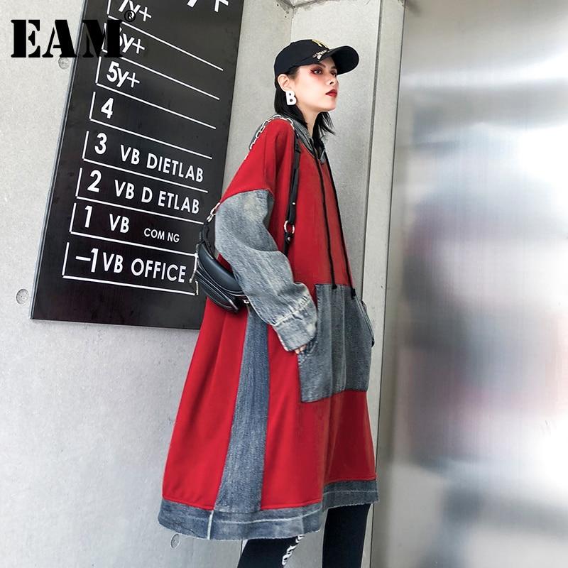 [EAM] Loose Fit Red Denim Split Oversized Sweatshirt New Hooded Long Sleeve Women Big Size Fashion Tide Spring Autumn 2020 1K355