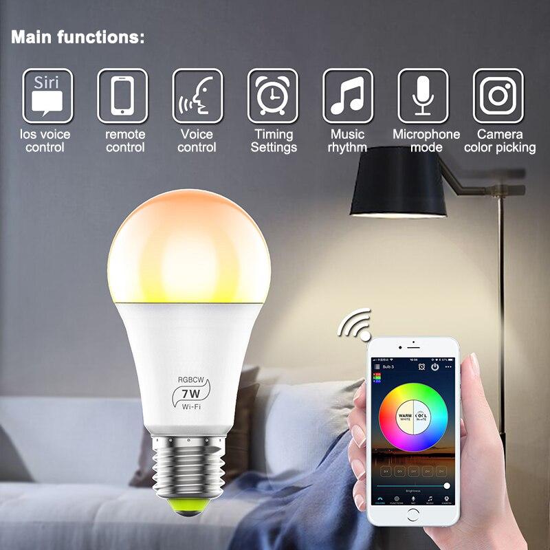 Smart LED Light Bulb Wi-Fi 4.0 Smart Bulb Home Lighting Lamp 7W E27 Smart LED Bulb Timer Voice Could Change Color By Phone App