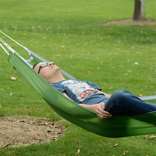 Durable Single People Fabric Hammock Outdoor Leisure Parachute Hammock For Camping Travel Ultralight Camping Tent