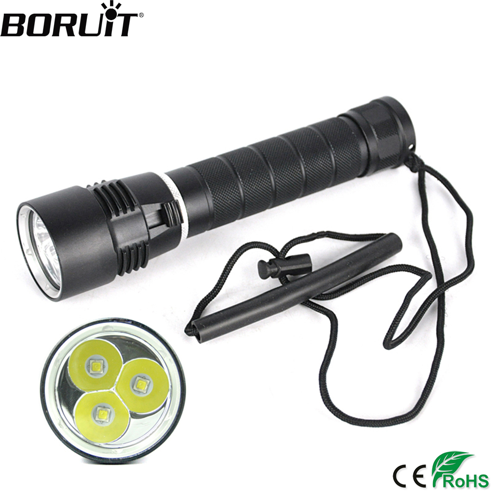 BORUiT M23 LED Scuba Diving Flashlight High Power 3*XM-L2 3000lm Torch Underwater 100M Lantern 18650/26650 Stepless Dimming