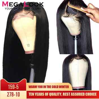 Megalook 4*4 Closure Wig Straight 180% Density Natural Black Color 100% Remy Hair 30 inch Brazilian Wig Human Hair Wig - DISCOUNT ITEM  46% OFF All Category
