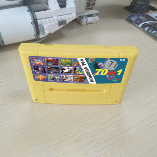Super 70 In 1 EUR PAL Game Cartridge With Games Soul Blazer Pocky And Rocky 2 F-Zero Donkey Country Kong 1 2 3 Super Metroided