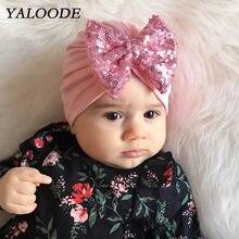 Chapéu do bebê do Algodão Listrado Sólida Brilhante Lantejoulas Arco Infantil Criança Hip Hop Turbante Tampas Gorro Do Bebê Chapéu Do Bebê Recém-nascido Acessórios