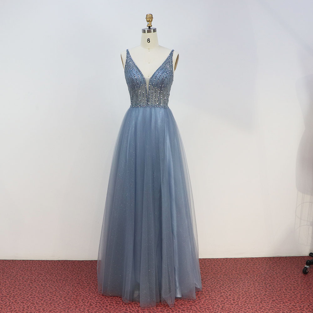 2020 New Collection Dusty Blue Long Prom Dresses Deep V Neck Beaded Embroidered Tulle Slit Left Formal Party Dress Backless