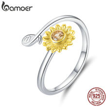 Bamoer-Anillos abiertos para dedos de mujer, de girasol plateado de Ley 925 auténtico, joyas de estilo coreano con margaritas de Color dorado, BSR127