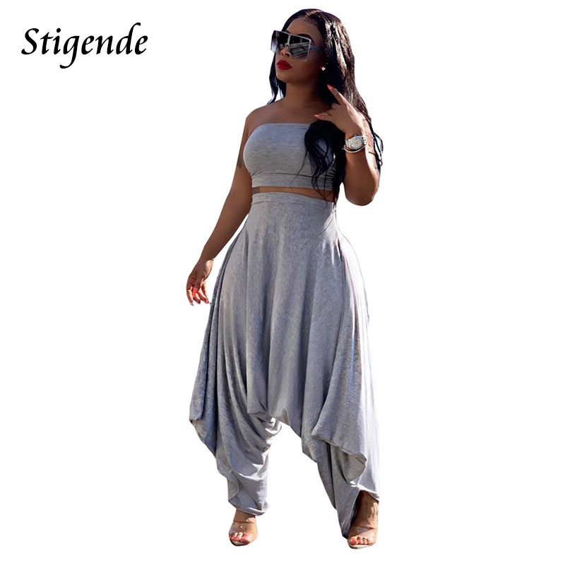 Stigende Summer Solid Color Two <font><b>Piece</b></font> Casual Set <font><b>Women</b></font> Bodycon Crop Top and Harem <font><b>Pants</b></font> Set Fashion Loose <font><b>2</b></font> <font><b>Piece</b></font> <font><b>Outfit</b></font> Set image