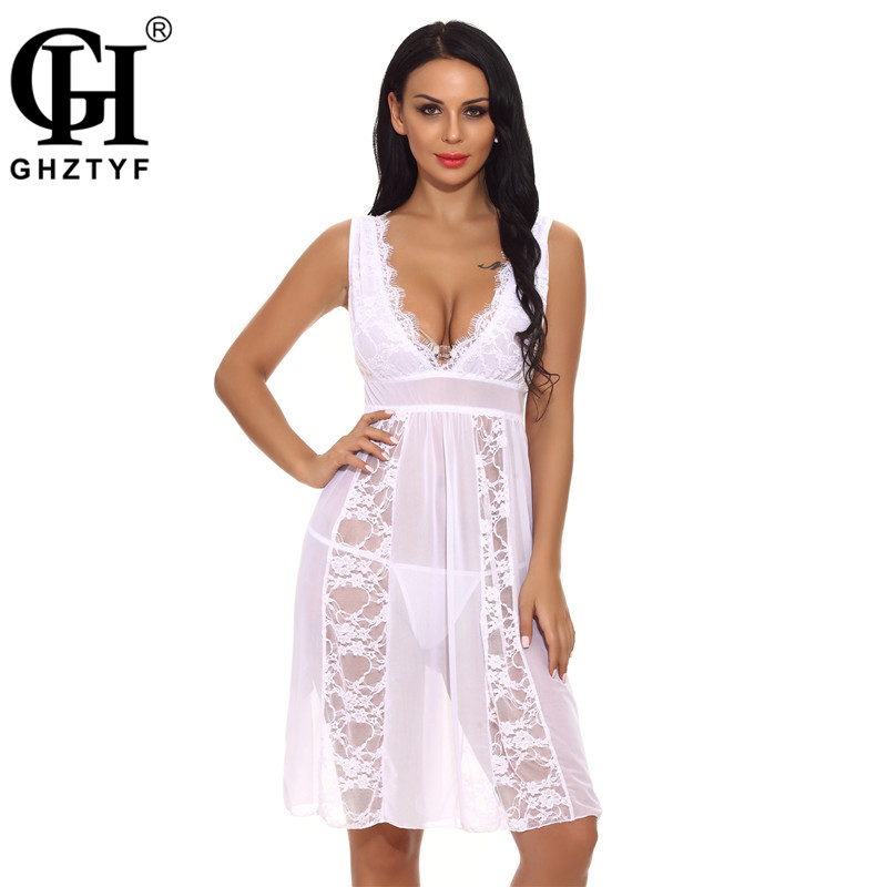 Erotic Sexy Lingerie XXL Lace Sex Underwear for Women Porno Transparent Nightdress Babydoll Costumes Femme Plus Size Hot Dress image