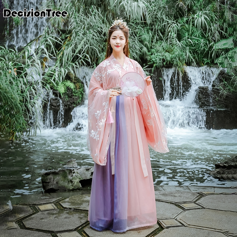 2020 Chinese Folk Dance Clothes Hanfu For Women National Costume Fairy Dress Tang Dynasty Ancient Costumes For Stage Costumes