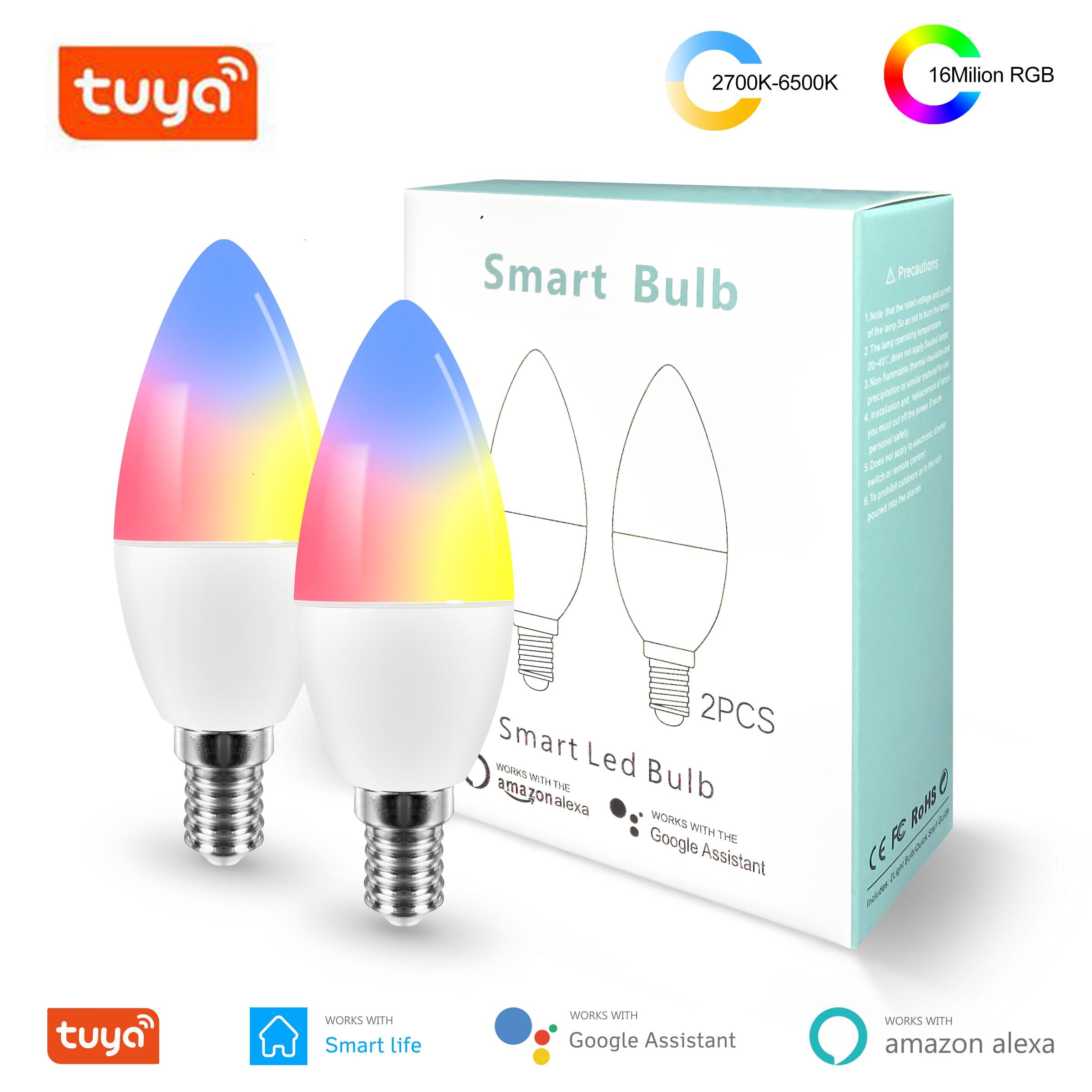 Умная Wifi Светодиодная лампа Tuya E14 RGB + W + C с регулируемой яркостью, светодиодный светильник с пультом дистанционного управления, работает с Alexa Google Home Assistant|Светодиодные лампы и трубки|   | АлиЭкспресс
