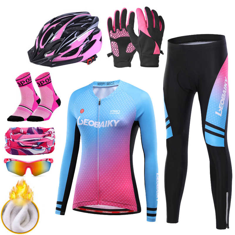 2020 Pro zespół zima polar termiczny odzież rowerowa kobiety kombinezony z długim rękawem jazda na zewnątrz odzież rowerowa rower MTB zestaw koszulek