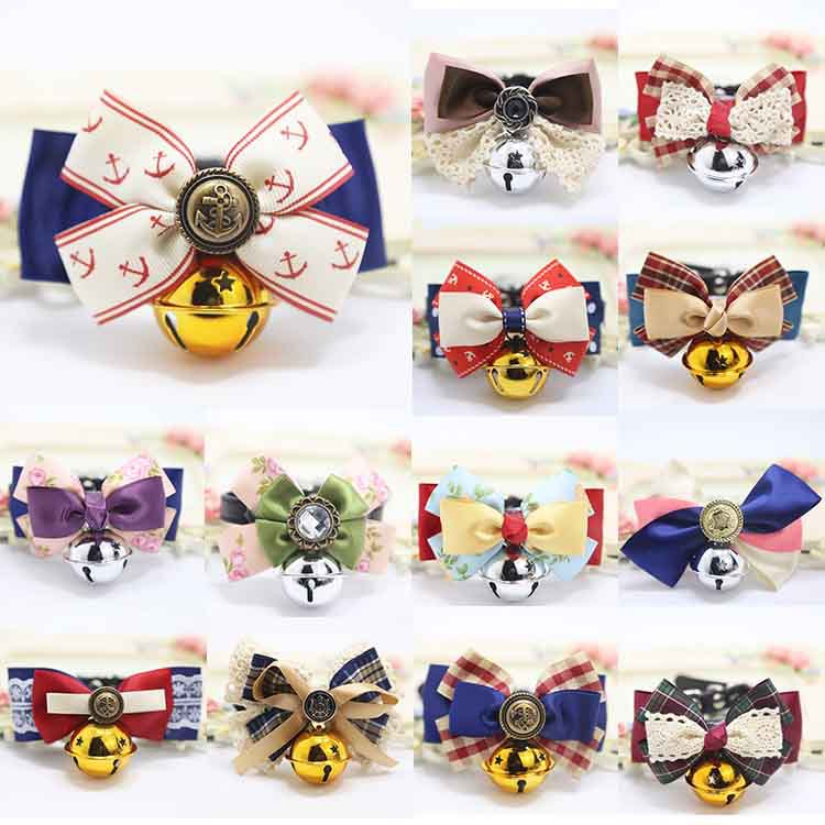 Kawaii Pet Dog Bow Tie Teddy Bow Cat Bell Neck Ring Accessories Handsome Gentleman Bichon