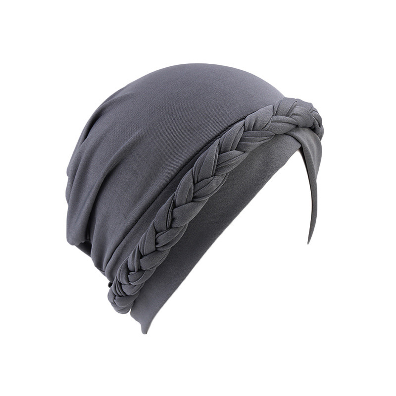 H36900c24907d49d0af1f0b6179bb5e56q - NEW arrival Retro Women Braid India caps Muslim Cancer Chemo full cover-up  Beanie Hair Loss Turban femme Wrap
