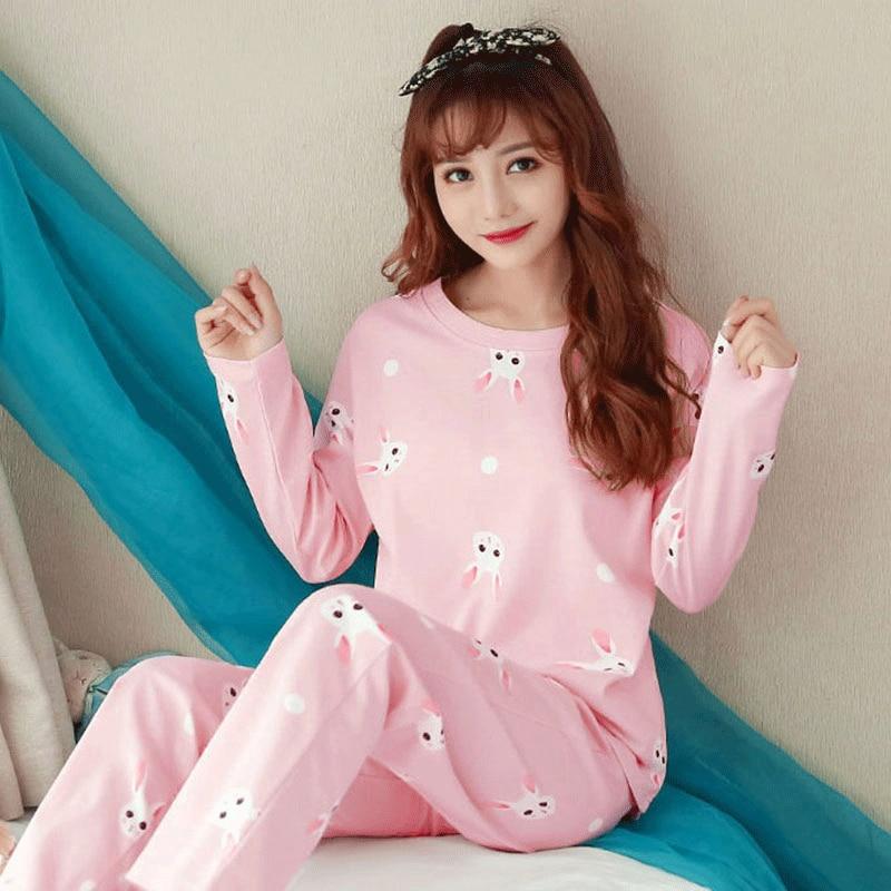 Women Pajamas Set pajamas for women New Thin Cartoon pijamas Printed pijama Women Long Sleeve Cute Sleepwear Casual 1