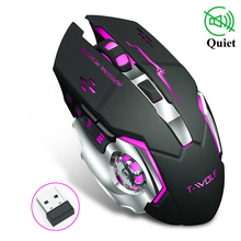 лучшая цена Wireless Gaming Mouse Silent 2400DPI Rechargeable Computer Optical LED Game Mice USB Games Mouse LOL for Pro Gamer PC Laptop