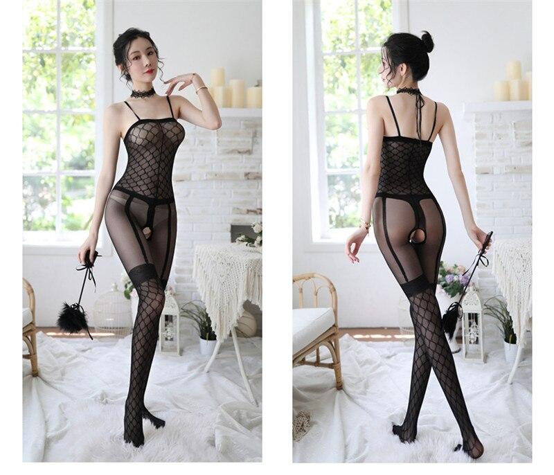 H36904bbb929a427e9bb6fdfb4cfeb343o Lencería Sexy íntima para mujer, disfraces sexys de osito, kimono porno, mono de manguera, ropa interior, medias elásticas de malla de color negro ajustado