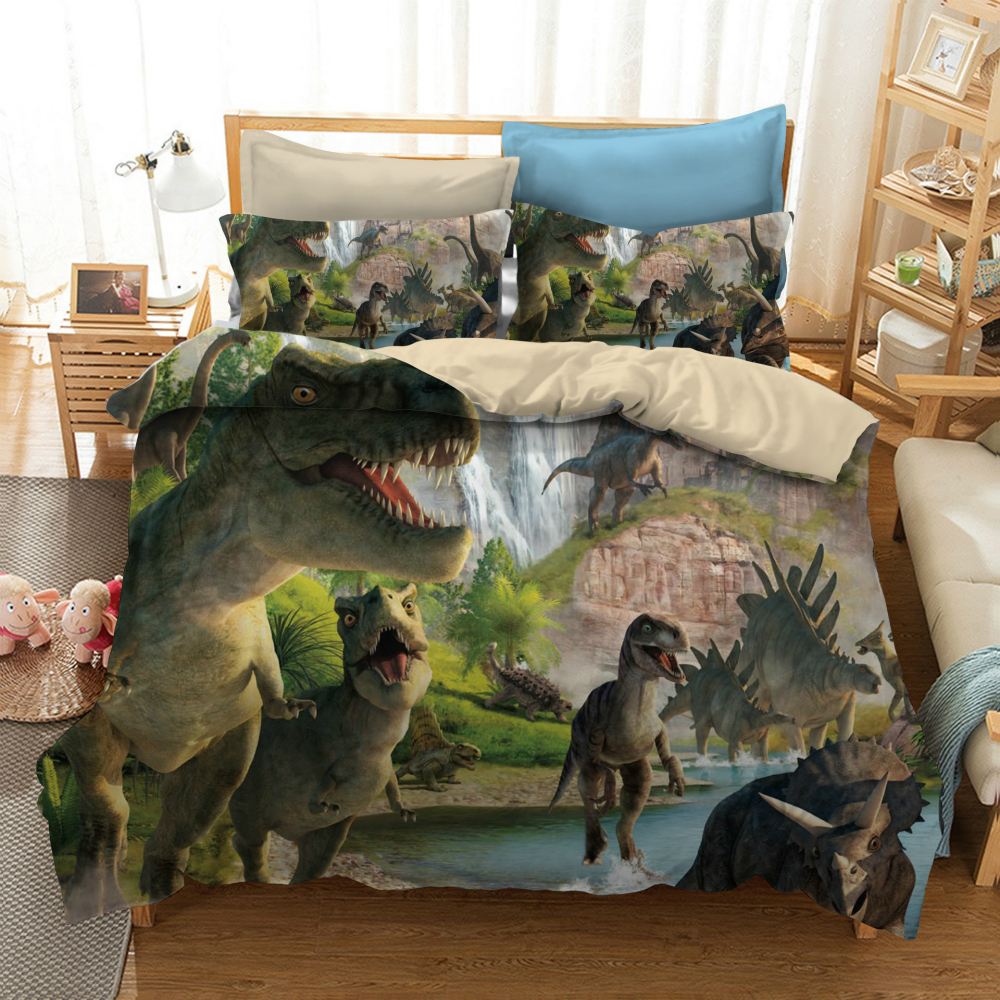 Bedding Set Linen 3D Printed Dinosaur For Home Duvet Cover Set With Pillowcase Queen King 12 Size Luxury Bedclothes Home Textile