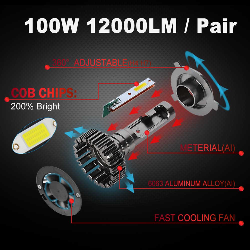 BraveWay Car Mini Canbus lampada H4 H7 LED Car Headlight 12V 10000LM 6500K H11 LED Lamp H7 H1 H8 H9 H4 Light Bulb for Motorcylce