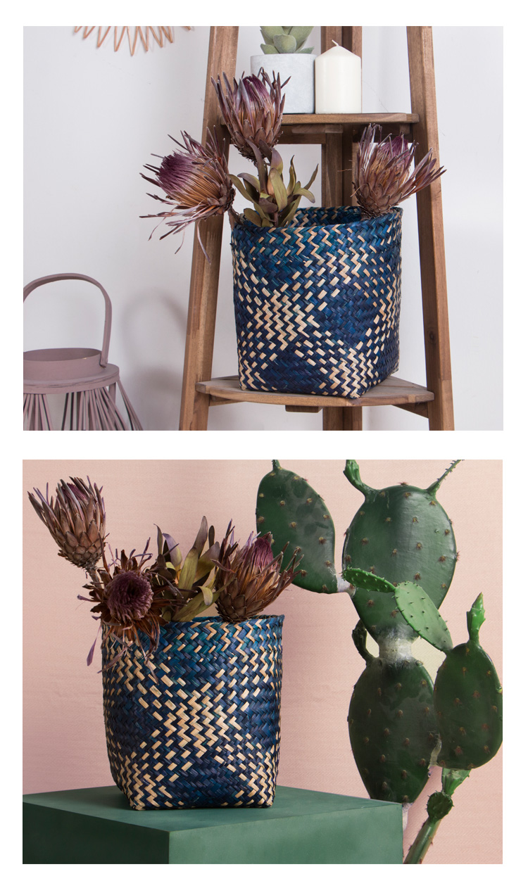 Hand-woven colorful diamond-shaped seaweed storage basket