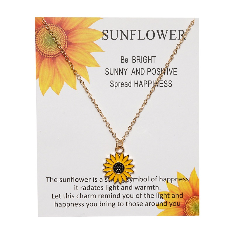 Sunflower Daisy Pendant Necklaces Korea Sun Flower Daisy Charm Gold Necklace for Women Gifts for Friend Wholesale Dropshipping