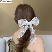 Женские кружевные резинки для волос белые с бантом аксессуары