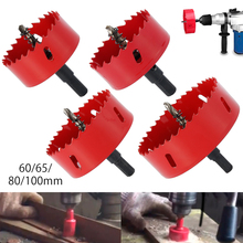 4pcs Woodworking Hole Opener Set High Speed Steel Hole Saw Bit Installed on Any 1/2 Inch Drill Bit for Cutting Metal Acrylic