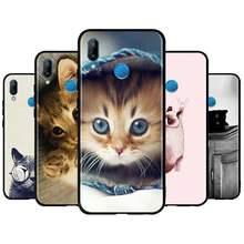 Caso de telefone macio para huawei y5p y6p y8p y6s y8s y9s y5 y6 y7 y9 prime 2019 capa gato gatos cute care silicone casos