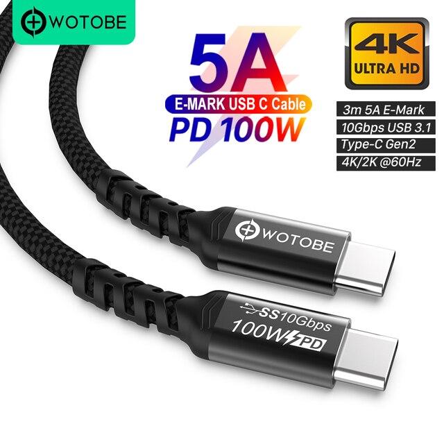 TYPE C  to C Cable USB C 5A E MARK PD 100W USB 3.1 Gen2 10Gbps 4K 60Hz Video Nylon weaving alloy Power Line for Computer laptops