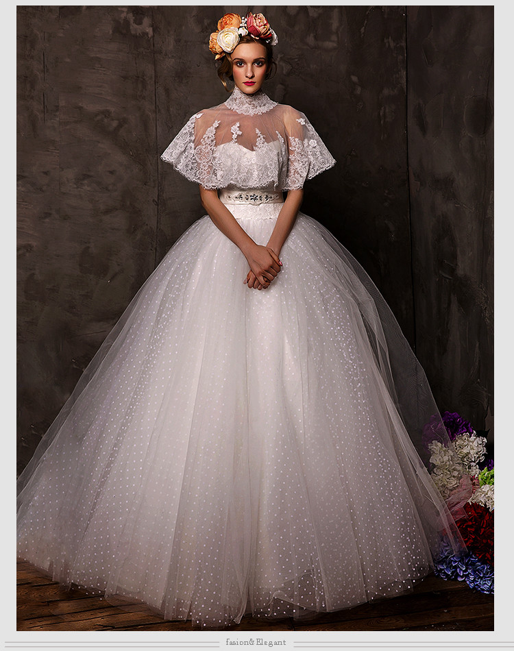 2016 Lace Wedding Dress With High Neck Jacket Ball Gown Crystal Sashes Appliques Brides Dresses New Fashion Vestido De Noiva