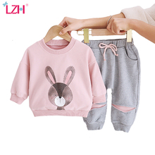 LZH Newborn Baby Girls Clothes 2021 New Spring Baby Clothes Rabbit Print 2pcs Outfits Kids Infant Clothing Sets For Baby Suit