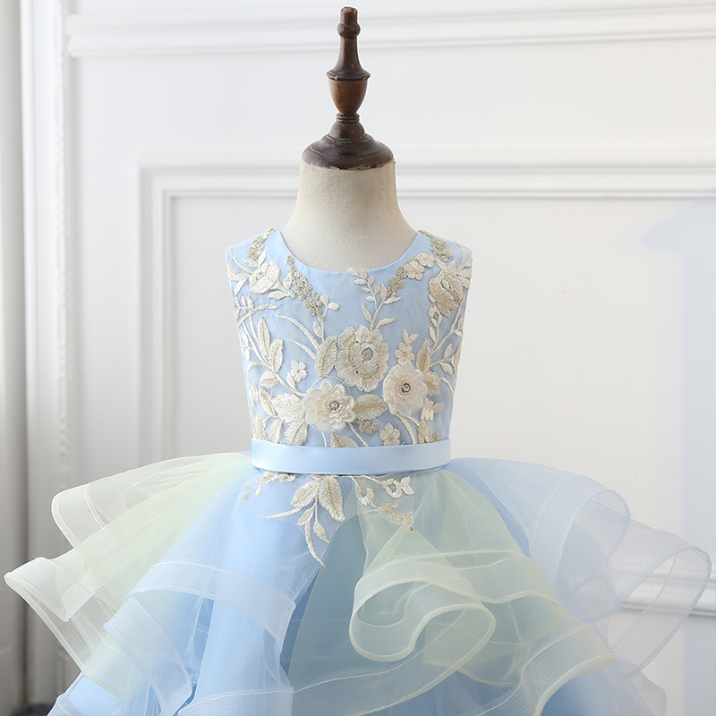 Blue Lace Appliqued Flower Girl Dress Embroidery Princess Pageant Dress Little Children Wedding Party Ball Gown for 2-12 Years