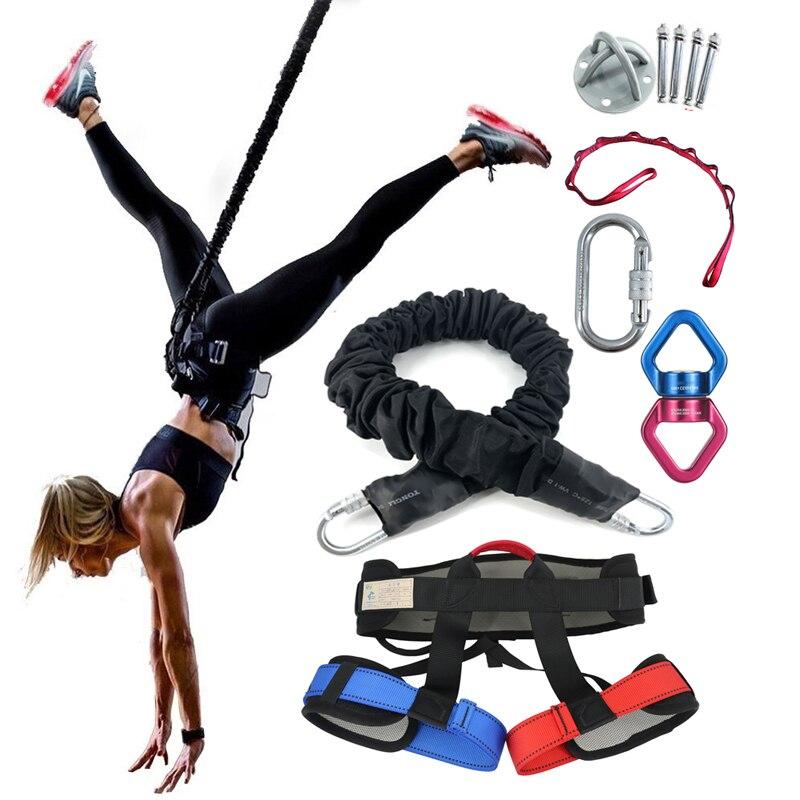 Cinq pièces costume Bungee danse Fitness formation aérienne Yoga cordon Pilates élastique Suspension élingue formateur tirer corde