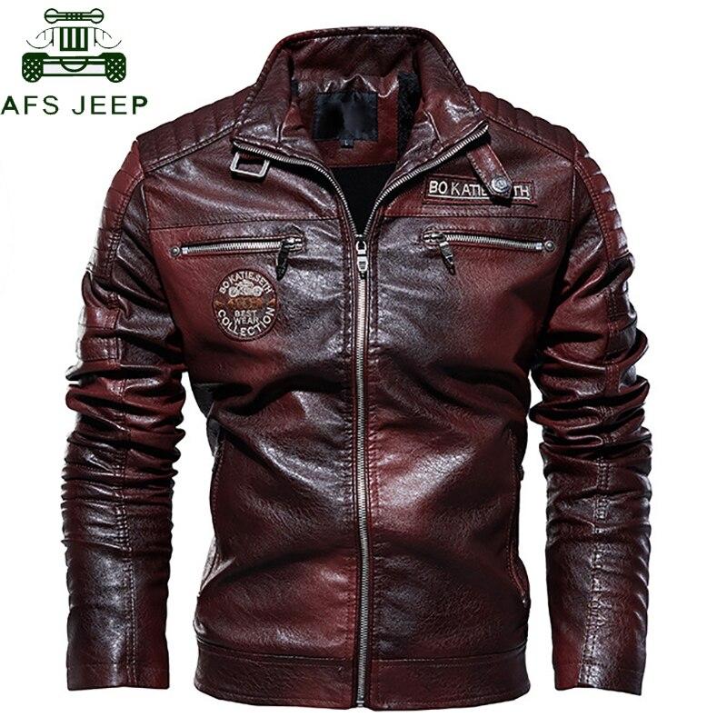 Retro Winter Warm Fleece PU Leather Jacket Men Military Tactical  Mens PU Jacket Male Coats Motorcycle Hip Hop Biker Outerwears
