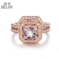 HELON Solid 14K Rose Gold Round 8mm Natural Morganite Diamonds Ring Women Engagement Wedding Diamonds Ring Match Band Two Ring