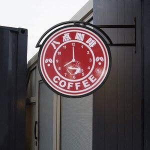 Image 5 - HDJSIGN D35cm 50cm 60cm 12V özel restoran reklam Led kurulu akrilik Uv baskı Led Metal ışık kutusu için dükkanı kahve mağazası