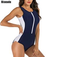 Riseado Zipper One Piece Swimsuit Navy Swimwear Women 2021 Sport Swimming Suits Patchwork Bathing Suit Rash Guard Beachwear XXL