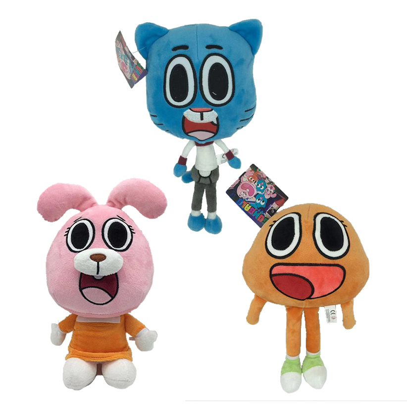 3pcs/lot The Amazing World Gumball Darwin Anais Plush Doll Toy Cute Cat Bunny Gumball Stuffed Toy Children Kids Gift 25cm