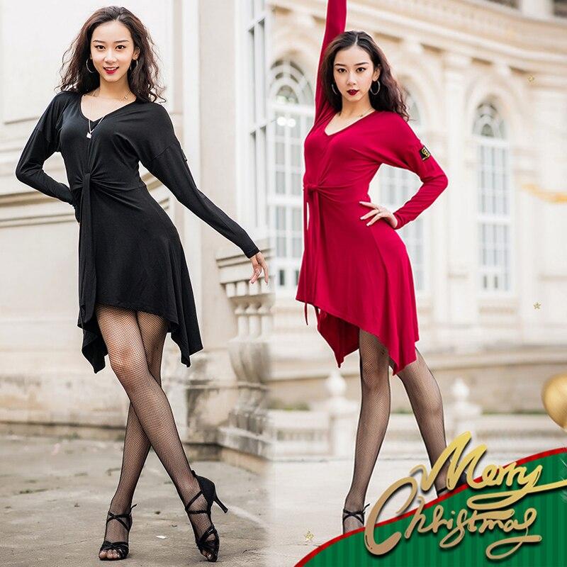 Latin Dance Dress Women Dancing Clothes Adult New Dress Dance Skirt Practice Dance Wear Winter Modern Dance Dress Training Suit