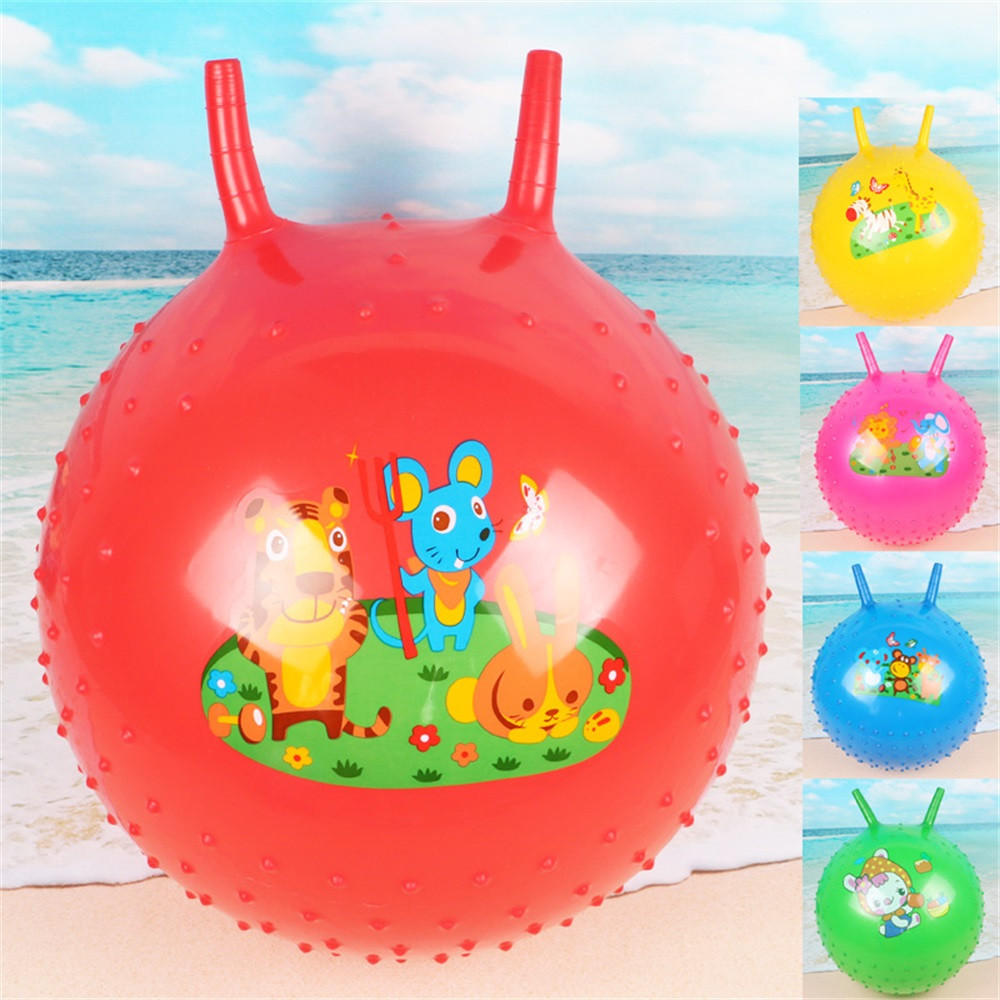 45cm Bouncing Ball With Handle Massage Horn Inflatable Toy Jump Play Game Sport Kids Toys Toys For Children Juguetes Para Ninos