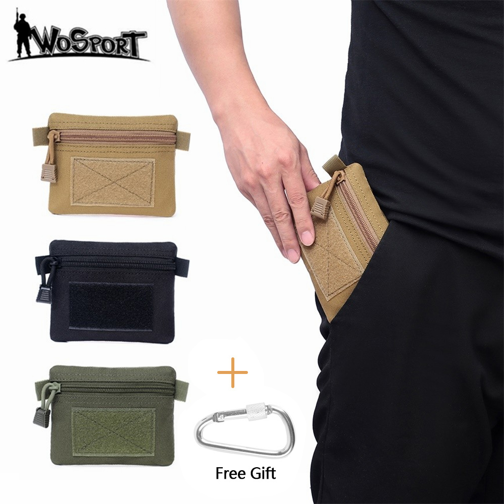 Tactical Wallet Card Bag Money Key Pack 1000D Nylon With Free Carabiner Hunting Camping Hiking Outdoor Waterproof Small Pouch