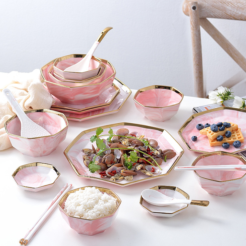 Nordic Phnom Penh Marble Tableware Rice Bowl Soup Bowl Salad Bowl Western Food Plate Pasta Plate Dishes Plate Bowl