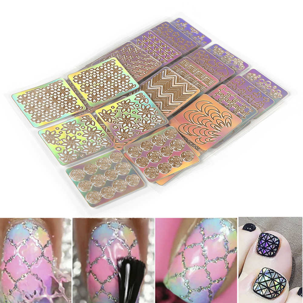 6 PC Berwarna-warni Nail Art Sticker Tip Decal Nail Art Hollow Keluar Stiker Stensil Bahasa Polandia 3D Printing Penyihir Stiker Manikur seni Kuku Tips